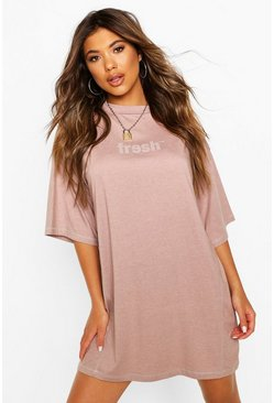 Slogan Contrast Stitch Tshirt Dress, Rose