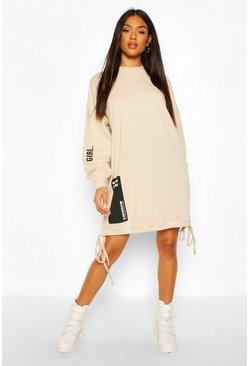 Printed Draw Cord Sweatshirt Dress, Camel