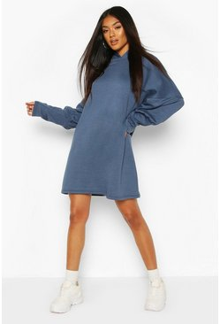 Petrol Hooded Puff Sleeve Sweatshirt Dress