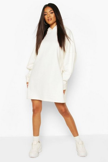 White Hooded Puff Sleeve Sweatshirt Dress