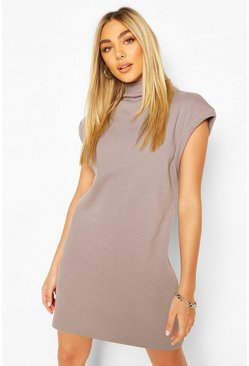 Grey Ribbed Highneck Sleeveless Sweat Shirt Dress