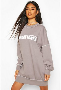 Slogan Contrast Stitch Sweatshirt Dress, Grey