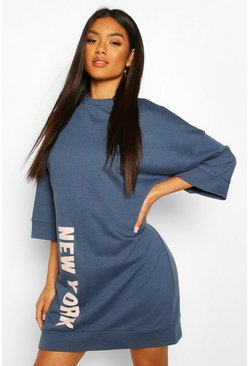 Petrol Slogan Oversized Sweatshirt Dress