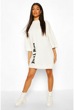 Slogan Oversized Sweatshirt Dress, White