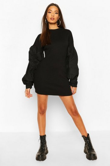 Black Ribbed Extreme Rouched Sleeve Mini Dress
