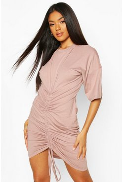 Rouched Front T-Shirt Dress, Rose