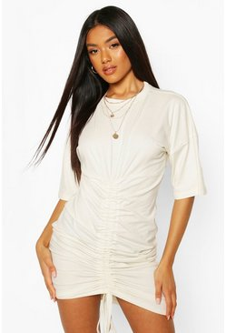 White Rouched Front T-Shirt Dress