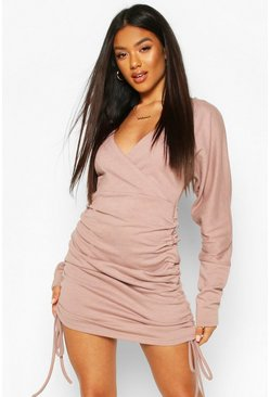 Wrap Front Rouched Sweatshirt Dress, Rose