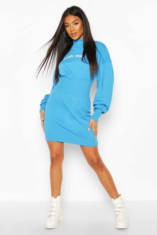 Womens Slogan Elasticated Waist Sweatshirt Dress - blue - 8