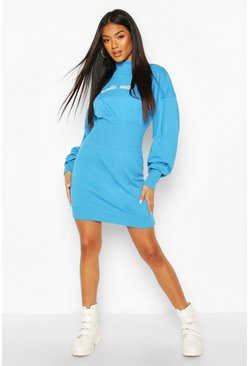 Slogan Elasticated Waist Sweatshirt Dress, Turquoise