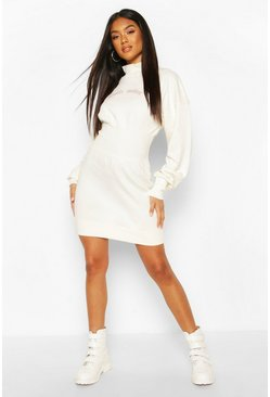 White Slogan Elasticated Waist Sweatshirt Dress