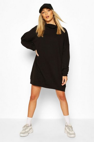 Black High Neck Oversized Sweatshirt Dress