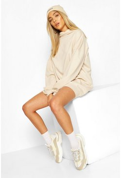 High Neck Oversized Sweatshirt Dress, Camel