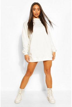 High Neck Oversized Sweatshirt Dress, White