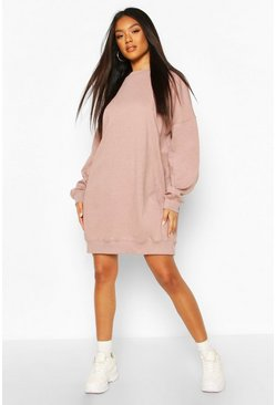 Tonal Stitch Pannelled Sweatshirt Dress, Rose