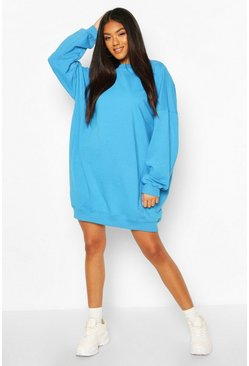 Turquoise Tonal Stitch Pannelled Sweatshirt Dress
