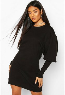 Puff Sleeve Extreme Cuff Sweatshirt Dress, Black