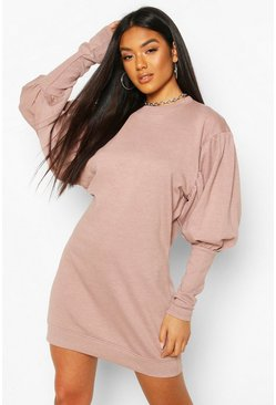 Rose Puff Sleeve Extreme Cuff Sweatshirt Dress