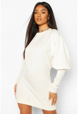 Puff Sleeve Extreme Cuff Sweatshirt Dress, White