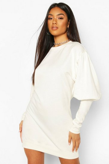 White Puff Sleeve Extreme Cuff Sweatshirt Dress