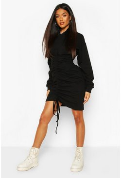 Hooded Rouched Front Sweatshirt Dress, Black