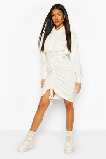 White Hooded Rouched Front Sweatshirt Dress