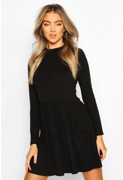 Black Jersey Tiered Smock Mini Dress