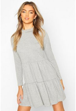 Grey marl Jersey Tiered Smock Mini Dress