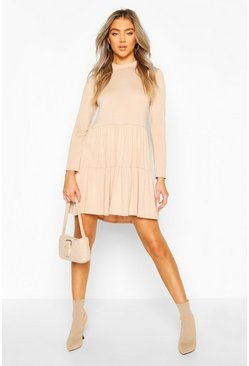 Toffee Jersey Tiered Smock Mini Dress