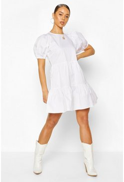White Puff Sleeve Smock Dress