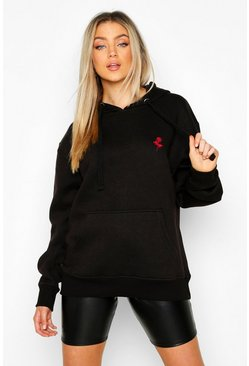 Rose Pocket Embroidered Oversized Hoodie , Black
