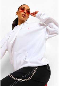 Rose Pocket Embroidered Oversized Hoodie , White