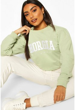 Mint Georgia Slogan Drawstring Sweat