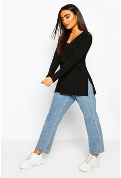 Black Jumbo Ribbed Side Split Longsleeve Top