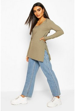 Sage Jumbo Ribbed Side Split Longsleeve Top