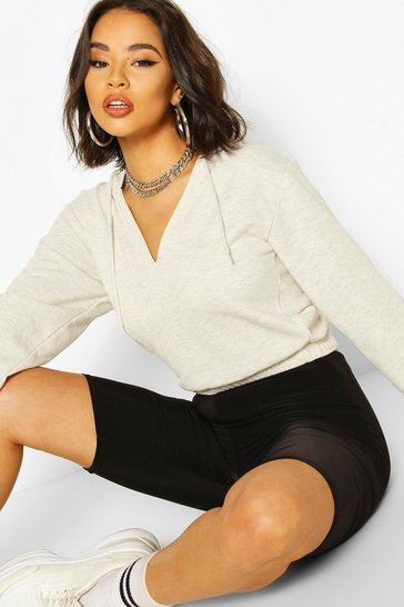 Ecru V Neck Cropped Toggle Hoodie