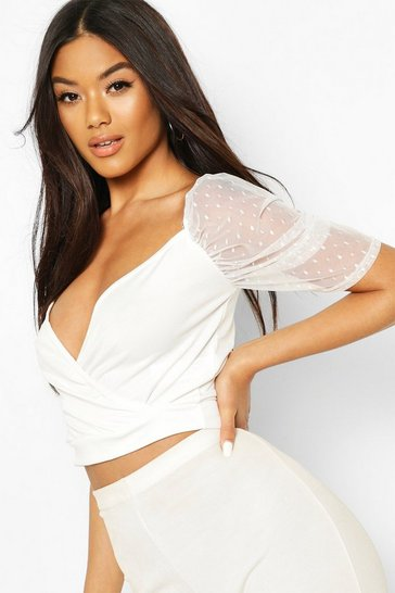 White Puff Sleeve Dobby Mesh Crop Top