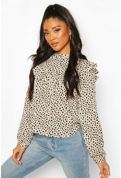 Smudge Polka Dot Ruffle Detail Open Back Blouse, Stone