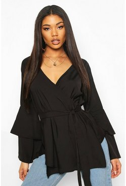 Tie Waist Frill Sleeve Blouse, Black