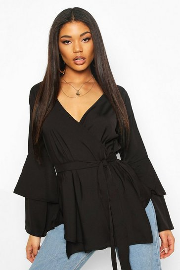Black Tie Waist Frill Sleeve Blouse