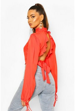 Tomato Ruffle Back High Neck Blouse