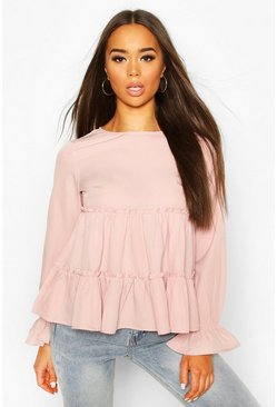 Woven Ruffle Long Sleeve Smock Top, Blush