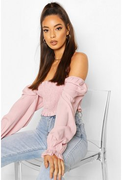 Blush Shirred Long Sleeve Off Shoulder Top
