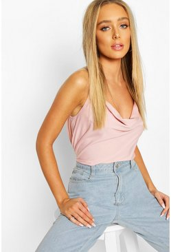 Cowl Neck Cross Back Cami Top, Blush