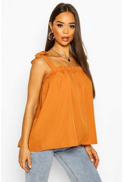 Camel Ruffle Tie Shoulder Cami Top