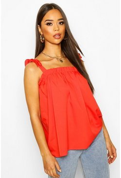 Ruffle Tie Shoulder Cami Top, Tomato