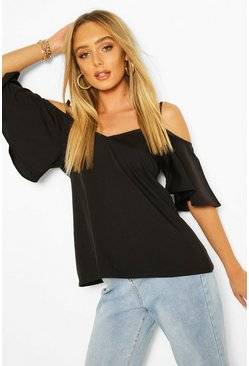 Black Pastel Cold Shoulder Cami Top