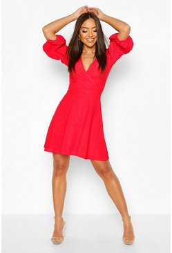 Red Balloon Sleeve Ribbed Skater Dress