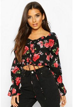 Rose Print Lace Up Long Sleeve Top, Black