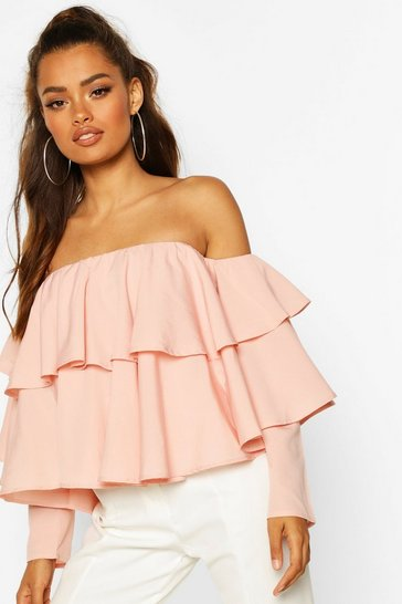 Blush Multi Ruffle Off The Shoulder Top
